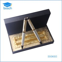 Best design leather box and metal ball pen classic gift pen set