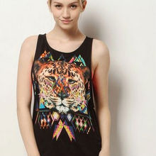 Sexy & charming women wholesale tank top with printing tiger printing black tank top ushape neck woman shirts china wholesale