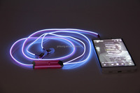 2015 Hot selling New EL wire flash glowing led earphone for apple & andorid smart phone
