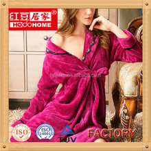 ladies microfiber personalized fleece bathrobe factory wholesale