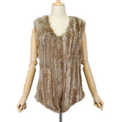 QC1003 fashion natural real rabbit fur knitted vests women with raccoon dog fur stripe