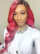 Fast Shipping Top Fashion Brazilian 100% Human Hair 20 inch Wavy Ombre Pink Full Lace Wig