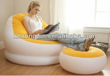 Flocked PVC Inflatable Sofa, china inflatable air sofa chair, foot rest inflatable sofa chair with pillowair sofa with foot rest