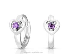 Colourful 3A zircon Sterling Silver Heart Huggie Hoop Earrings for Girls