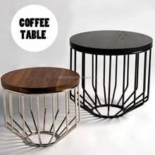 Modern Round Wood Top Iron Base Coffee Table