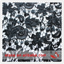 New arrival free samples 2014 black heat seal backing sequin chemical lace