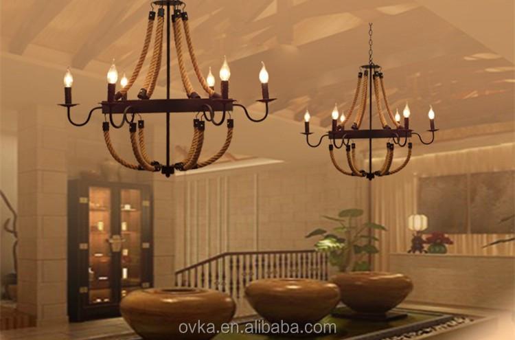 Iluminación de la lámpara de hierro forjado escalera de cuerda ...
