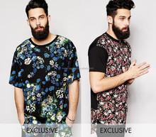 floral mens t shirt, vintage mens t shirt long line new design