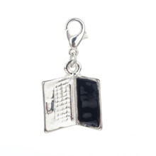 Trendy Silver Colored Laptop Shaped Clip On Pendant Charm With Black Screen For Bracelets Bangles