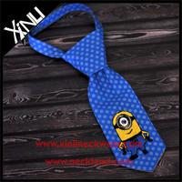 Cheap Silk Neckties with Blue Dots Printed Logo Minion Necktie
