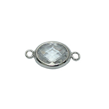Beadsnice 925 sterling silver oval gemstone connectors with double loops jewelry making supplies wholesale ID 31939