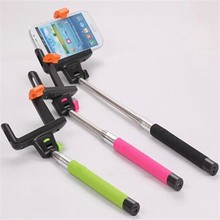 hand phone extendable selfie stick with bluetooth shutter button