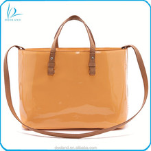 Hot sell designer style genuine leather women handbag patent leather handbag tote bag