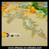 DH-836 Handbags and shoe AB color stonhe branches and flowers shape clear Rhinestone Applique Sew on Netting Fabric
