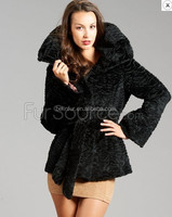 2015new fashion style sheep fur coat with belt for women/hot selling !!!