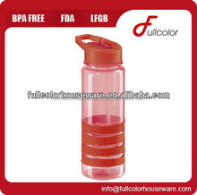 BPA free plastic water bottle with flip up spout and straw