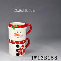 factory price 3d snowman Shaped Artistic Ceramic Mug set/christmas Creative Mug Coffee Mug for kids