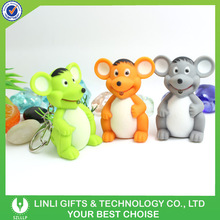 Wholesale Assorted Led Animal Flashlight Keychain,Animal Keychain With Sound and LIght,Cute Led Animal Key Ring