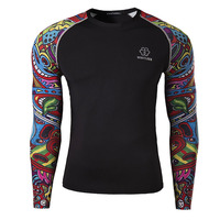 2015 New Fashion Men's sportswear 3d printing long sleeve T-shirt M-3XL