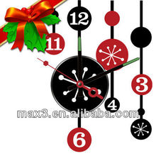 Christmas Decoration Wall Sticker Clock with the Ornament
