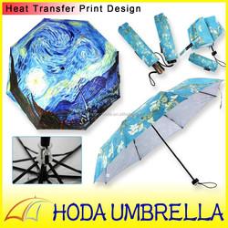 heat transfer print auto/manual open 3 fold umbrella