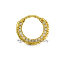 Unique Septum Clicker Gold Plated Septum Fancy Nose Ring Jewelry