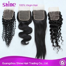 Good Quality Grade 7A different texture free part/ middle part/ three part 4*4 lace closure