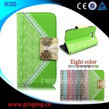 Caliente venta caja del teléfono del bolso venta al por mayor cartera cubierta del cuero del tirón para Samsung Galaxy S3 I9300