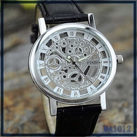 Romen alphabet Leather Precise Mechanical AUTO Watch black leather watchband silver plated dial Limited Edition man brand watch