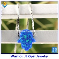 50pcs Free Shipping Synthetic Mix Color Opal Hamsa Pendant Necklace With 925 Silver Box Chain