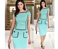 мода женщин летние платье Винтаж стрейч установлены bodycon партии Одежда для работы платье карандаш платье b7 sv004136