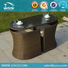 Oval Coffee Table and Rattan Chairs Outdoor Glass Top Table with 2 Chairs