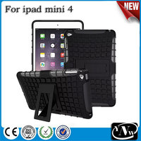 2015 Hot Sale Cheap Cell Phone TPU+PC Hybrid Combo Case cover with Stand For ipad mini4
