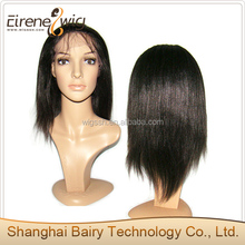 Silky Yaki 10 inch black hair mixed with gray hair full lace wig 100% Indian remy human hair lace wigs