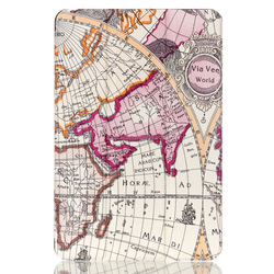 2015 New Worldmap Pattern Tri-fold Smart Leather Cover Case for iPad Mini 4