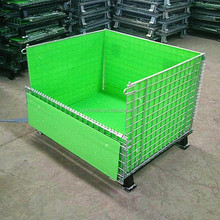 Industrial folding wire mesh cage