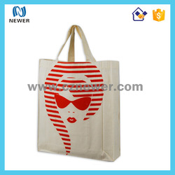 Delicated plain tote white color cotton handled online shopping bag