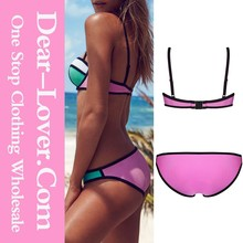 Hot Sale Discount Pink Beautiful Color Block 2pcs Bikini Swimsuit