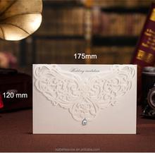Wholesale elegant angel wing rhinestone handmade laser cut wedding invitation card