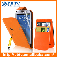 Set Screen Protector Stylus And Case For Samsung Galaxy S3 I9300 , Orange Leather Mobile Phone Wallet