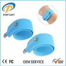 OEM Logo reflective silicone slap band with touch pen