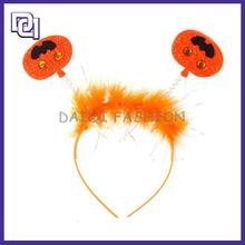 Hot New Product Halloween Decoration,Cute Girl Plastic Halloween pumpkin Head,Pumpkin And Wig Halloween Headband