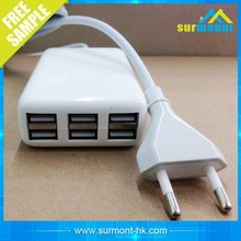CE,ROHS,FCC Approved 6 port usb charger,ODM/OEM quick deliver power sockets