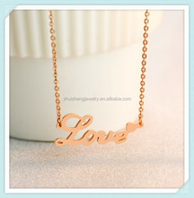 Couple gift stainless steel fashion beauty design engraved word love necklace rose gold