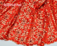 hot sales red African lace george, embroidery george wrapper fabric for GA001-5