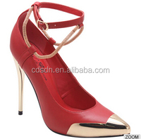 women high heel pumps with pointed gold metal covered toes/ankle strap&gold colored heels