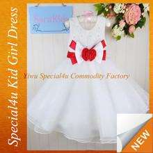 Latest designs children long white dress big bow party girls white dress CDT-322