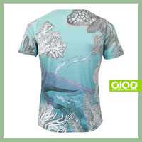 Taiwan Design whale in deep sea - single jersey fabric floral