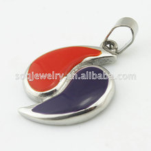 Alibaba Silver Plated Stainless Steel Enamel Red & Blue Half Heart Pendant Jewelry