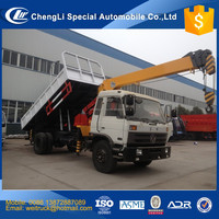 chinese cheap sq6.3 6.3 ton tipper truck with crane 6.3 ton for hot sale, crane on dump truck, cargo truck mounted crane
